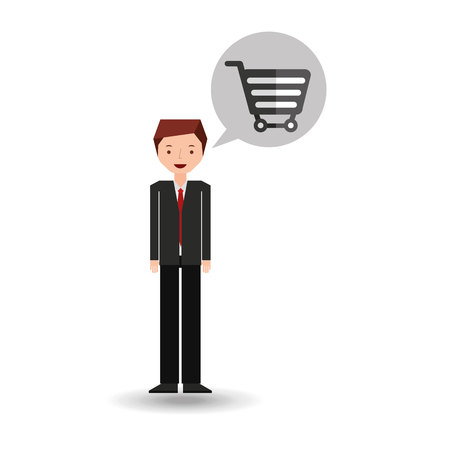 statesman: business man cartoon and e-commerce vector