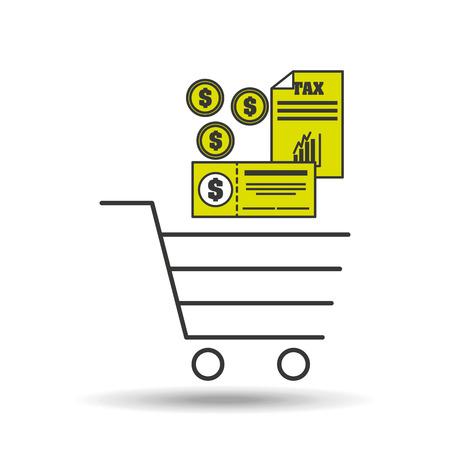 e-commerce cart shop tax pay icon vector illustration Illustration