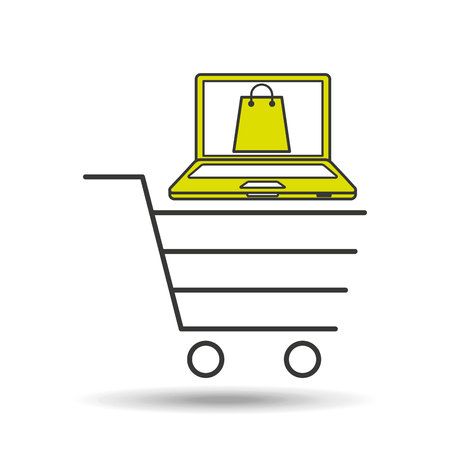 e-commerce cart shop laptop gift icon vector illustration