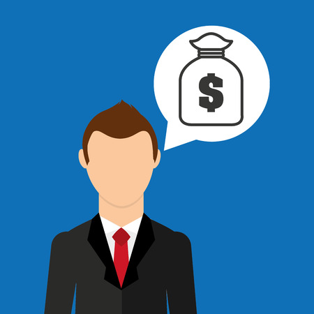 cartoon business man bag money save icon Illustration