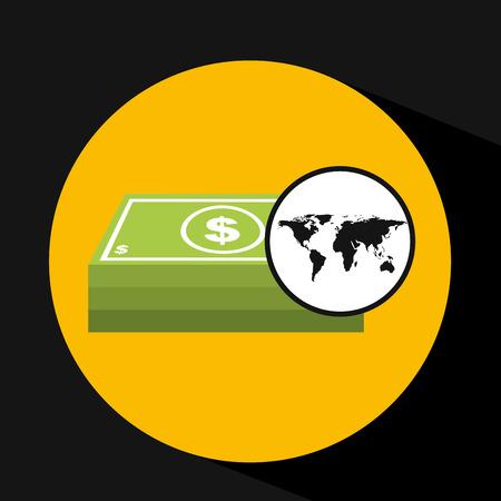 stack of dollar bill: map world business stack bills design vector Illustration