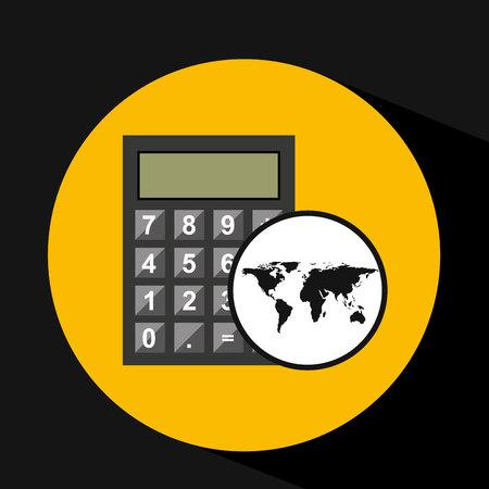 map world business calculator design vector