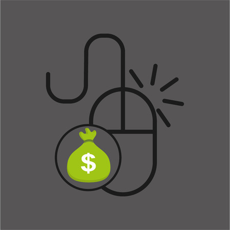 end of the world: sack money with mouse pc icon vector illustration Illustration