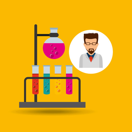 character scientist chemistry laboratory vector illustration