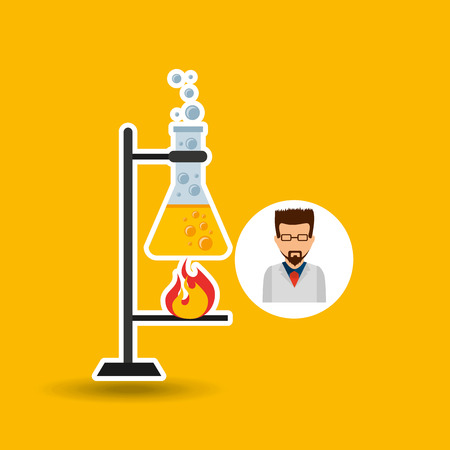 male scientist laboratory processing icon vector illustration