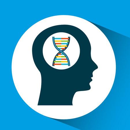 trainee: silhouette head dna molecule lab work vector illustration