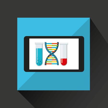 esp: chemistry laboratory smartphone dna test tube vector illustration esp 10