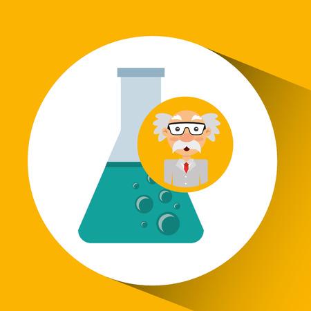 character man scientist beaker laboratory vector illustration
