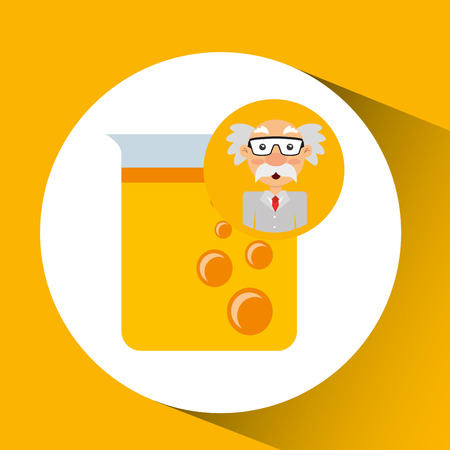 character man scientist filled test tube vector illustration eps 10 Illustration
