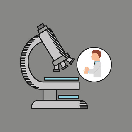 scientist worker research test microscope graphic vector illustration eps 10