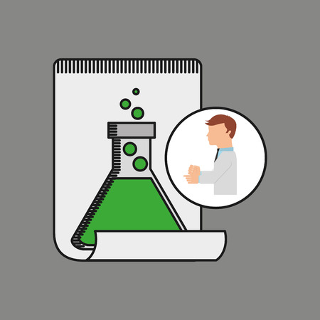 scientist worker research report tube lab vector illustration eps 10 Illustration