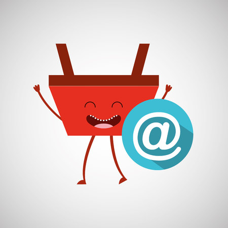 basket red commerce email mail icon vector illustration Illustration