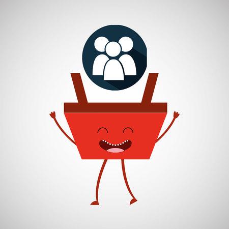 Ilustración de vector de persona de grupo de compras de cesta de dibujos animados