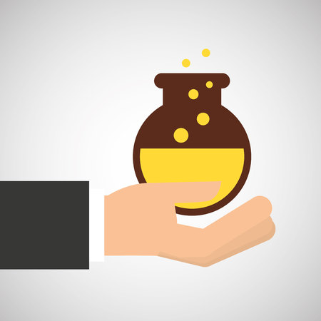 hand holding research science container vector illustration
