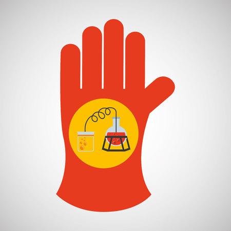 surgical glove: science glove and process distillation vector illustration Illustration