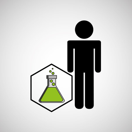 alchemist: silhouette  with flask filled element laboratory Illustration