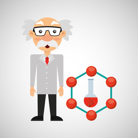 ilustration: character man scientist test tube design vector illustration eps 10
