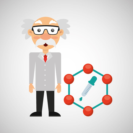 scientist chemistry concept test dropper vector illustration