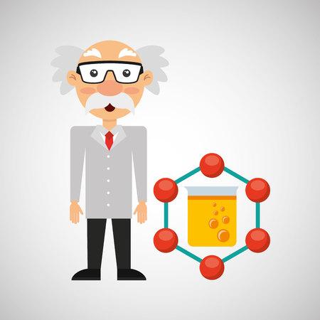 character man scientist filled test tube vector illustration