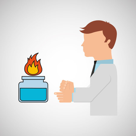 boiling tube: scientist worker research laboratory burner icon vector illustration Illustration