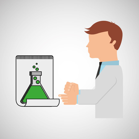 scientist worker research report tube lab vector illustration