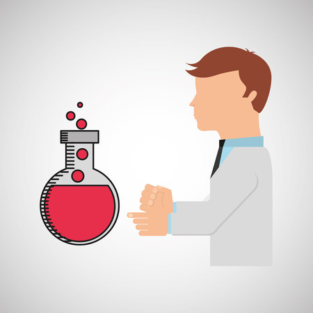 reagent: scientist worker research bulb test tube laboratory vector illustration