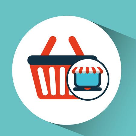 online shopping concept basket buy icon vector illustration