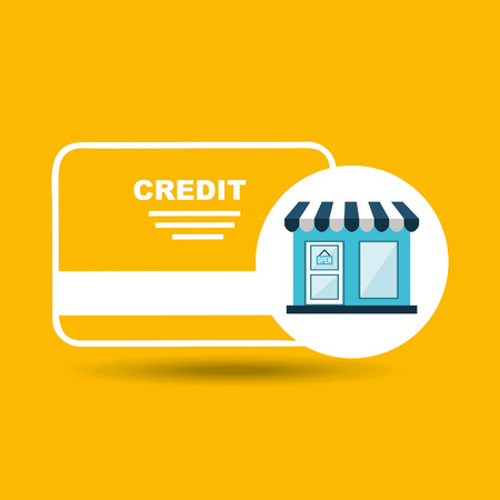 e store: e commerce store credit card bank icon vector illustration