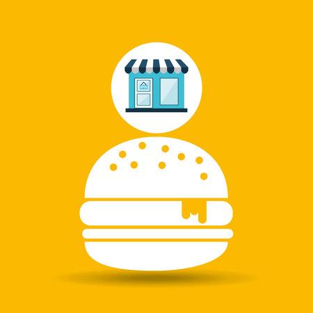 e commerce store fast food burger icon vector illustration