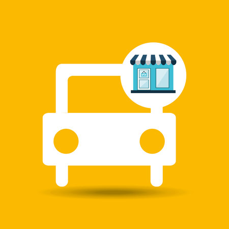 e store: e commerce store car vehicle icon vector illustration