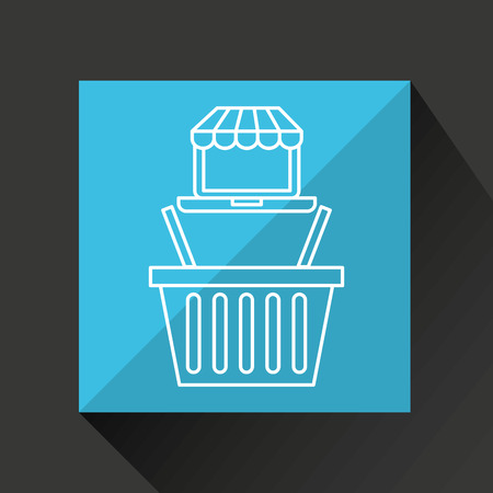 emarketing: drawing e commerce laptop basket shop icon vector illustration Illustration