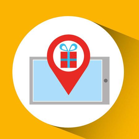 smartphone e-commerce gift pin vector illustration Illustration