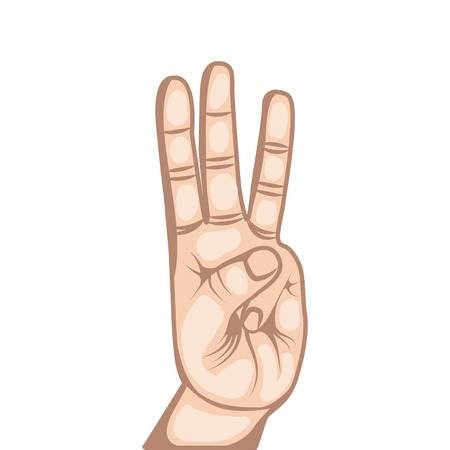 human hand with number gesture  expression over white background. colorful design. vector illustration Illustration