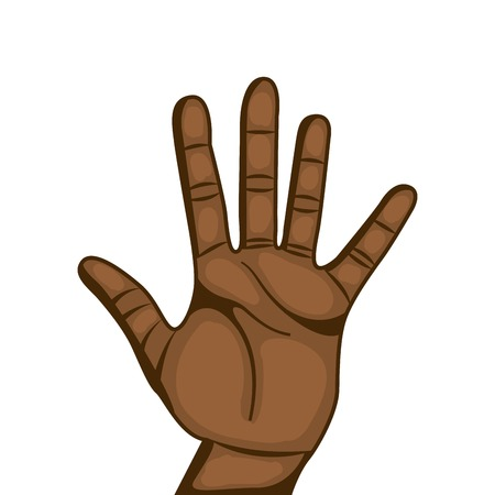 numbers clipart: human hand with number gesture  expression over white background. colorful design. vector illustration Illustration