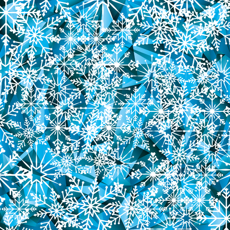 snowy hill: winter background with snowflakes icons. vector illustration