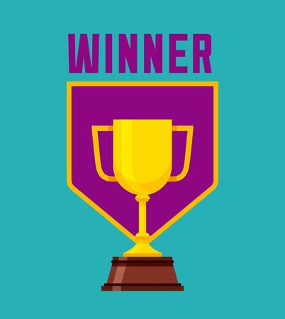 Winner Gold Trophy Icon Blue White Background Colorful Design