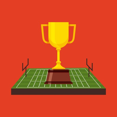football trophy: american football trophy cup inside field over red background. sport competition. vector illustration