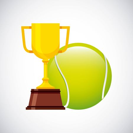 Gold Trophy With Tennis Ball Over White Background Colorful Design Vector Illustration