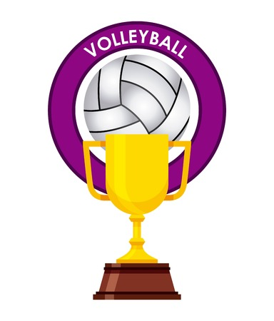 Gold Trophy With Volleyball Concept Design Over White Background Vector Illustration