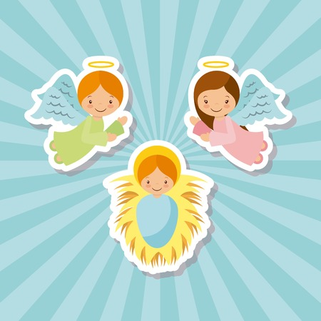 baby seal: cartoon angels with baby jesus characters over blue background. vector illustration Illustration