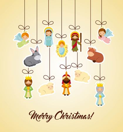 holy family and nativity characters hanging over yellow background. merry christmas colorful design. vector illustration Illustration