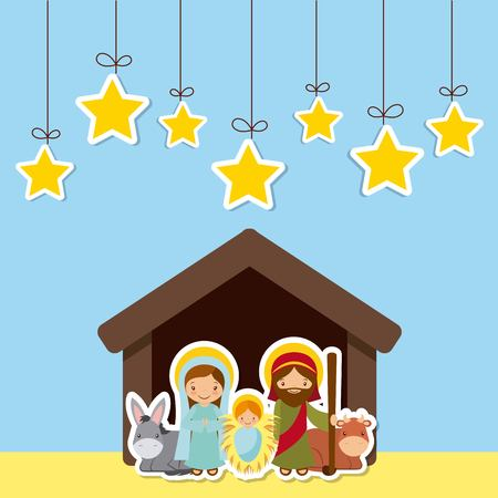 holy family in manger scene over blue background. colorful design. vector illustration