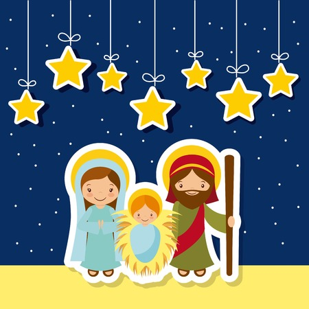 holy family: holy family over night background with decorative stars hanging. colorful design. vector illustration Illustration