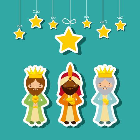 wise men: cartoon cute Three Wise Men with decorative stars hanging over blue background. colorful design. vector illustration