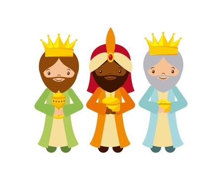 mignons de bande dessinée Trois hommes sages avec sur fond blanc. design coloré. illustration vectorielle