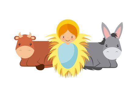 cute cartoon baby gesù con asino e mucca animali su sfondo bianco. design colorato. illustrazione vettoriale