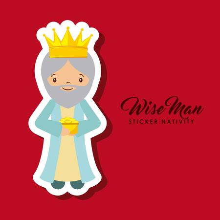 cartoon wise man sticker nativity over red background. colorful design. vector illustration