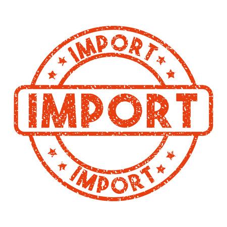 白い背景に赤い輸入スタンプです。インポートおよびエクスポートのデザイン。ベクトル図  イラスト・ベクター素材