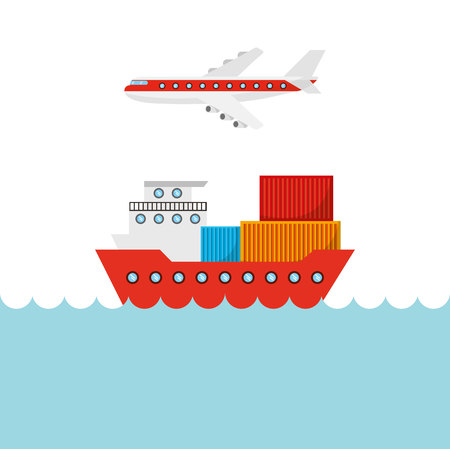 big cargo ship and airplane flying. import and export design. vector illustration