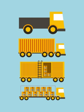 differents types of cargo trucks over blue background. import and export design. vector illustration